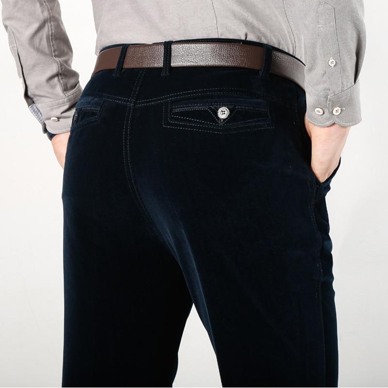 ICPANS Classic Straight Loose Corduroy Pants Men Stretch Summer Business Casual Pants Black Khaki Blue Long Trousers 2019