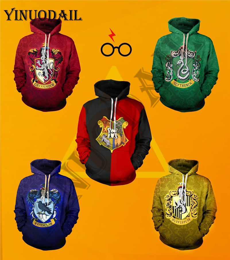 YINUODAIL Mens Sporting Hoodies Wizardry 3D Hoody Sweatshirt Hogwarts Slytherin Hufflepuff Bundle's Streetwear Cosplay Costume
