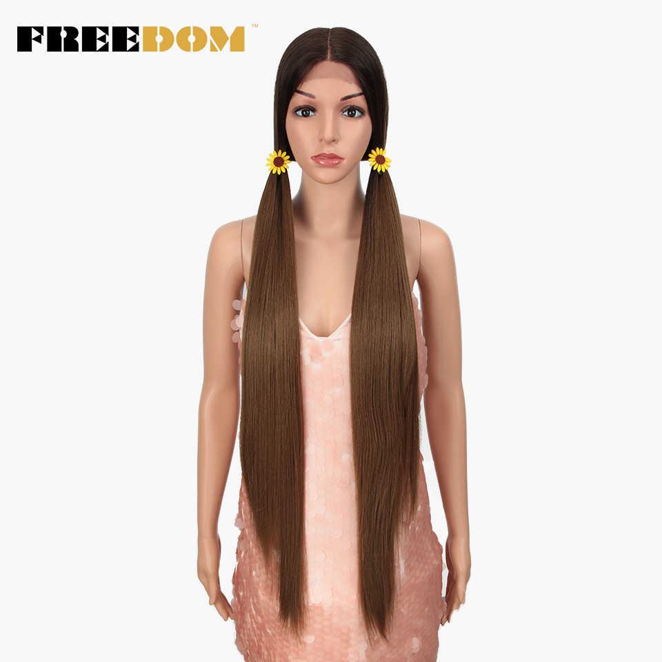 Peluca frontal de encaje sintético de La Libertad 38 pulgadas pelucas largas rectas de la parte profunda pelucas Ombre Cosplay Peluca de encaje sintético para las mujeres negras