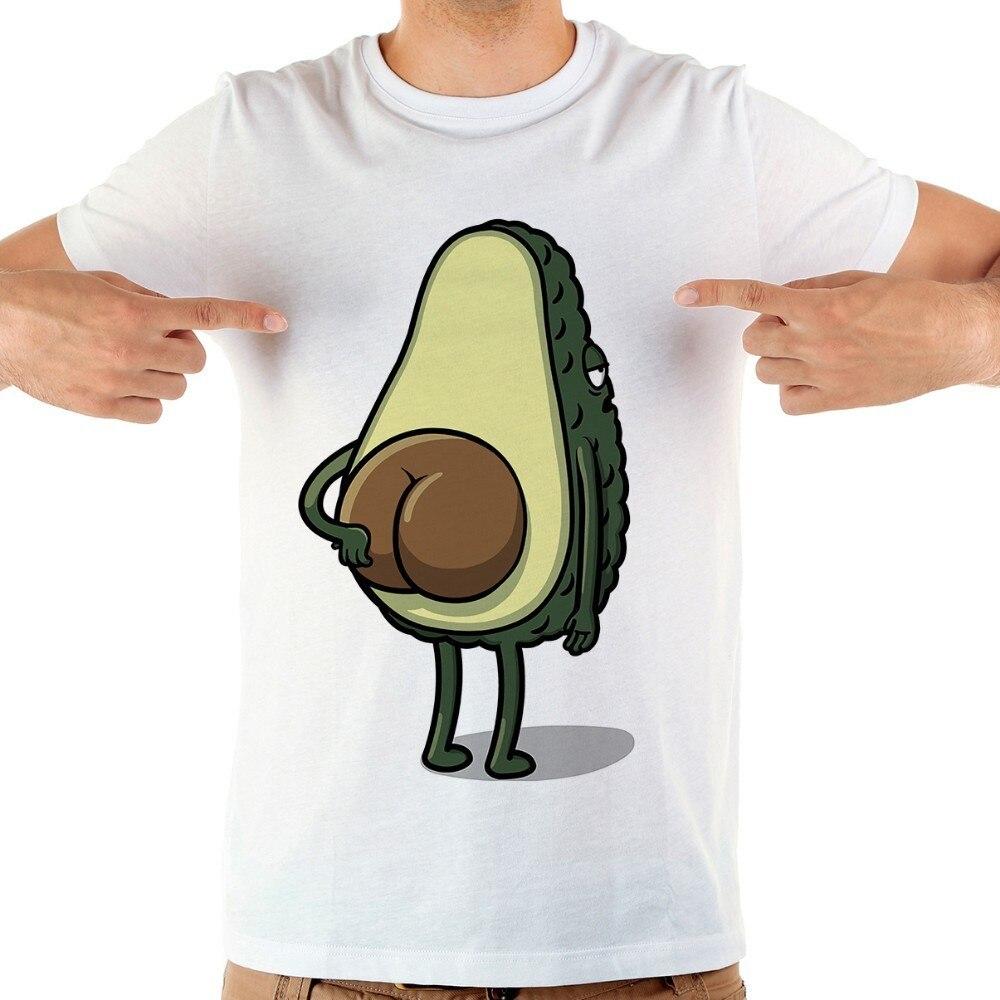 2020 Cartoon Avocado Funny T-shirt Men's Summer New White Short-sleeved Casual Homme T-shirt