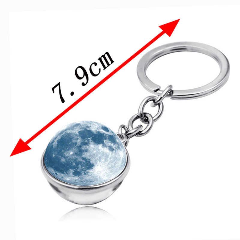 Vũ Trụ Hành Tinh Móc Khóa Galaxy Tinh Vân Hệ Mặt Trời Mặt Trăng Trái Đất Hai Mặt Kính Móc Khóa Dành Cho Nữ Móc Khóa Chìa Khóa Ô Tô nhẫn