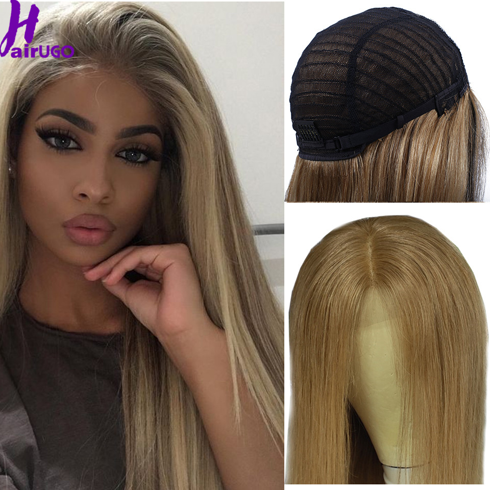 Malaysia Straight Human Hair Wigs 4*4 Lace Closure Wig Ombre Middle Ratio Hair Wig Non-Remy Pre Plucked Hair For Black Women