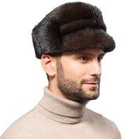 Men's Real Whole Mink Fur Peaked Cap Winter Outdoor Warm Hats Elegant BLACK BROWN