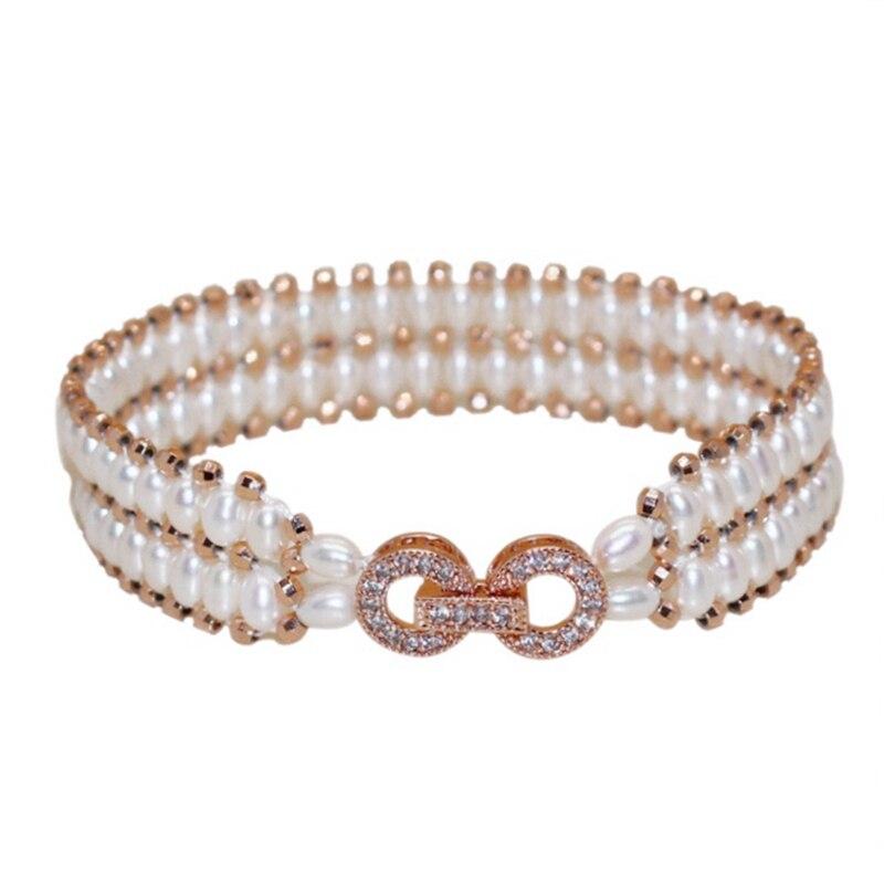Luksus zirkon Sterling sølv Dobbelt lag ægte Naturperle armbånd - Smykker - Foto 1