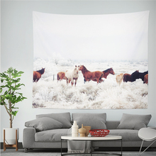 Horse Wall Hanging Tapestry Forest House Pattern Printed Polyestry Wall Cloth Tapestry Home Decoration Yoga Mat Shawl Blanket sunset forest horse pattern wall art tapestry