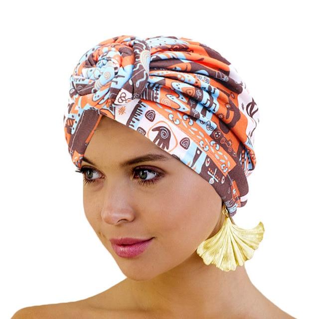 New Women african pattern Knotted flower Turban Muslim Turban Twist Knot India Hat Ladies Chemo Cap Bandanas Hair Accessories