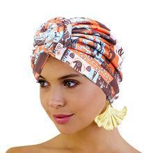 Nowe kobiety afrykański wzór wiązane Turban w kwiaty Turban muzułmański Twist Knot indie kapelusz panie czepek dla osób po chemioterapii bandany akcesoria do włosów