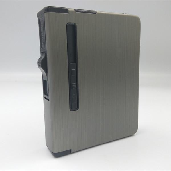 USB Lighter Smoking Accessories Portable Metal Cigarette Case 12pcs Alloy Cigarettes Case Automatic Windproof Creative Fuel