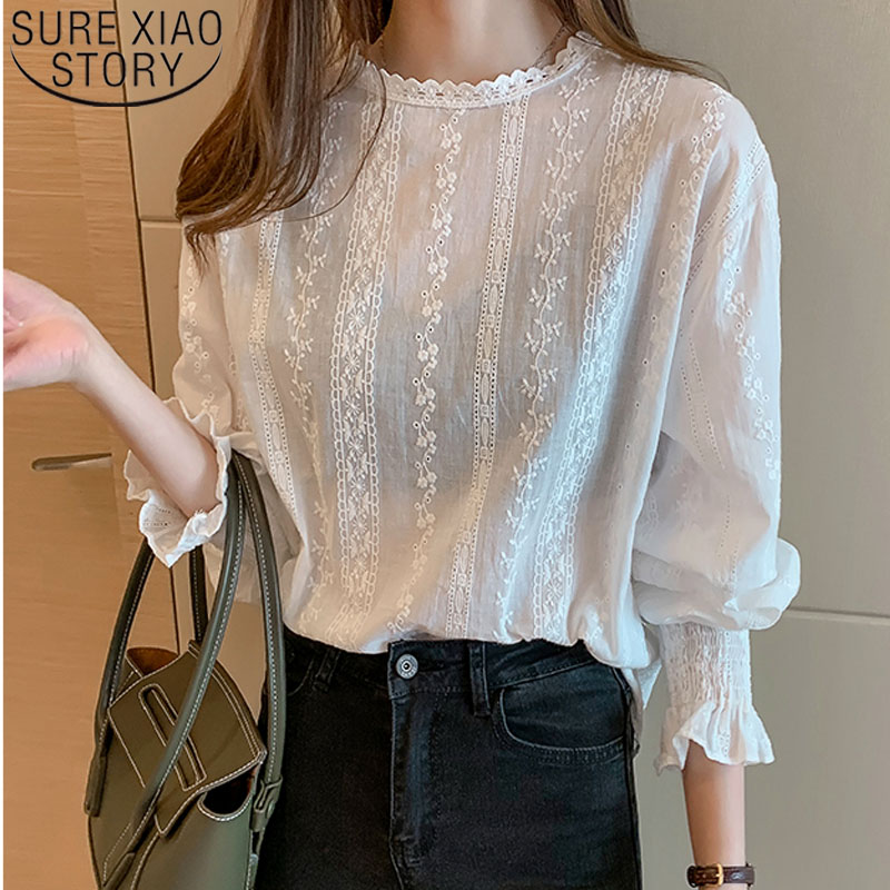 Blusas Mujer De Moda 2019 Autumn Fashion Women White Chiffon Blouses Long Sleeve Lace Women Tops Casual Floral Lady Tops 6202 50