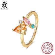 Женское кольцо из серебра 925 пробы с разноцветным кристаллом