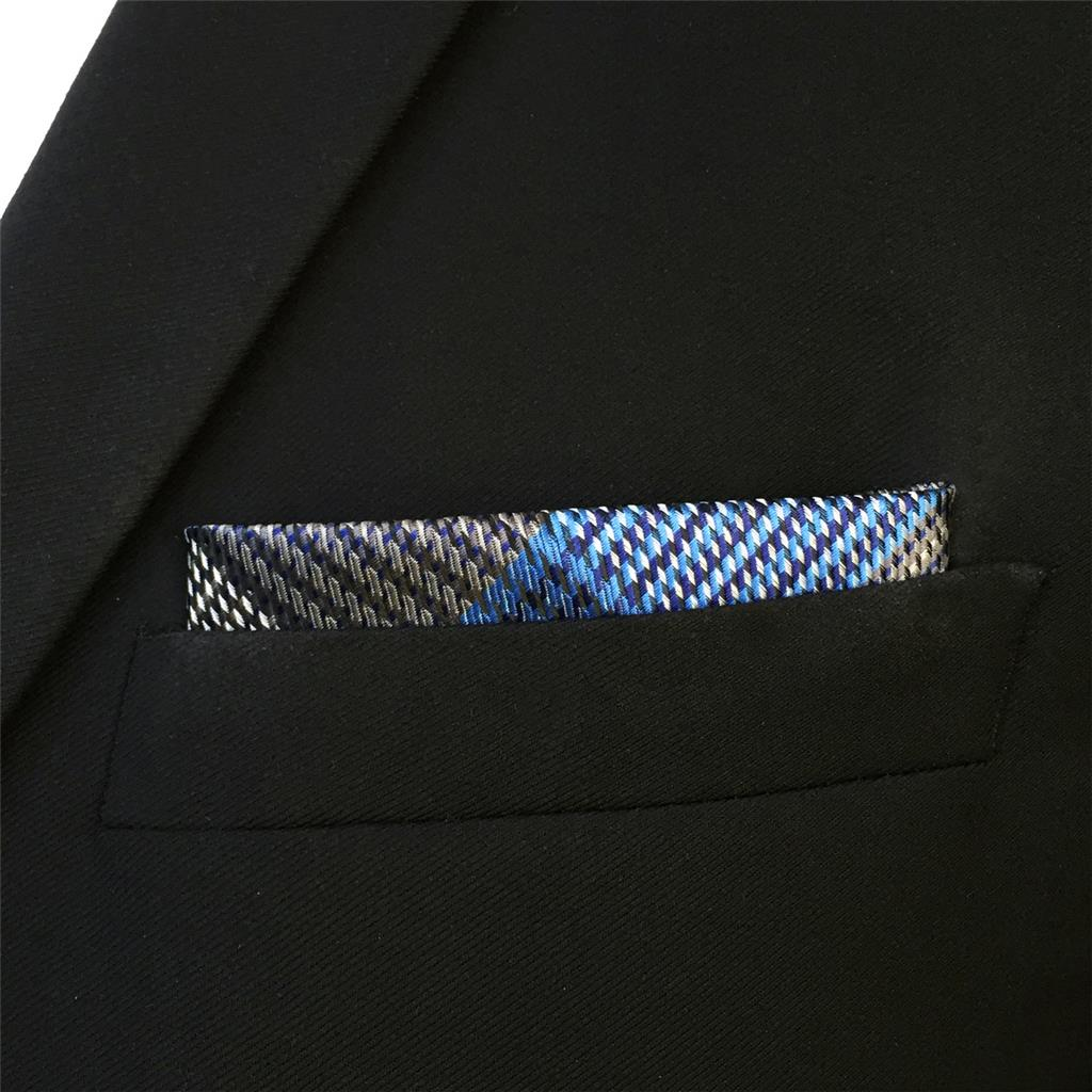 "FH23 Blue Grey Mens Pocket Square Checkes Handkerchief Silk Large 12.6"""