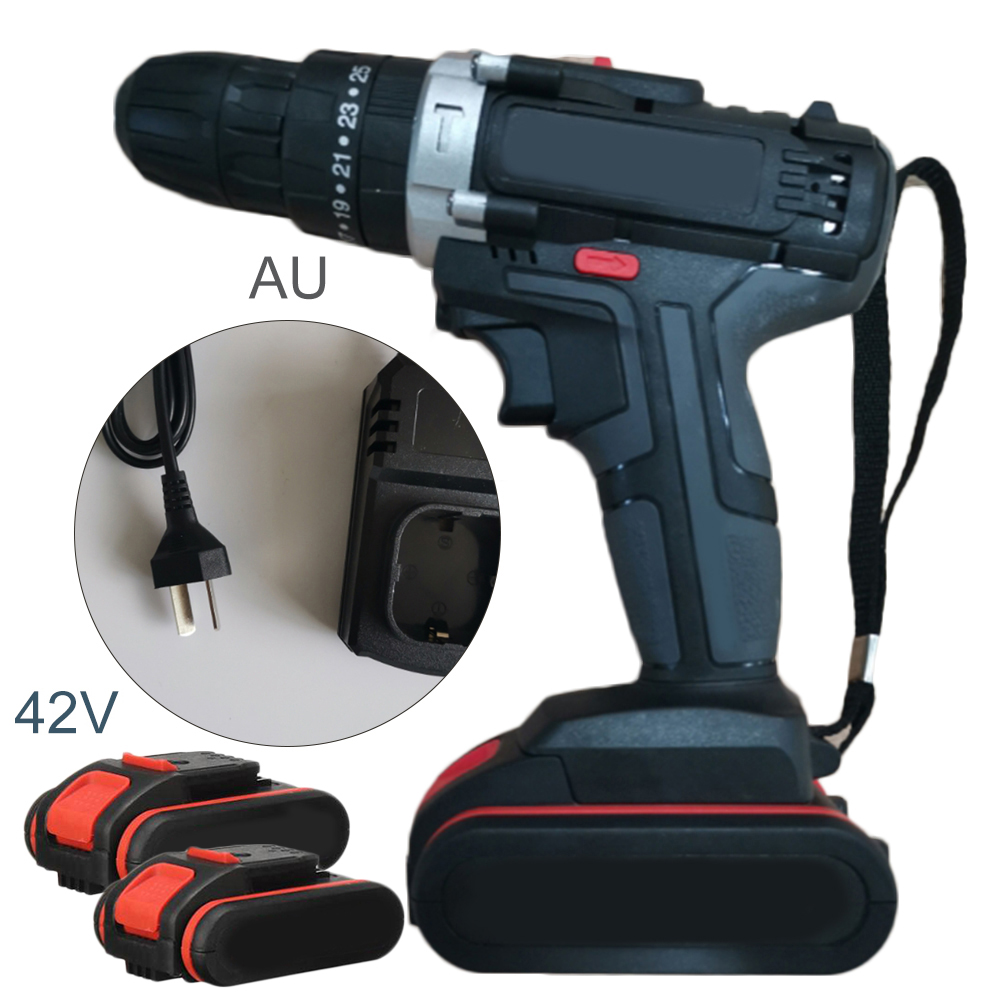 42V 25-28NM 2-Speed Brushless Wireless Electric Impact Drill LED With Battery For High Precision Operation