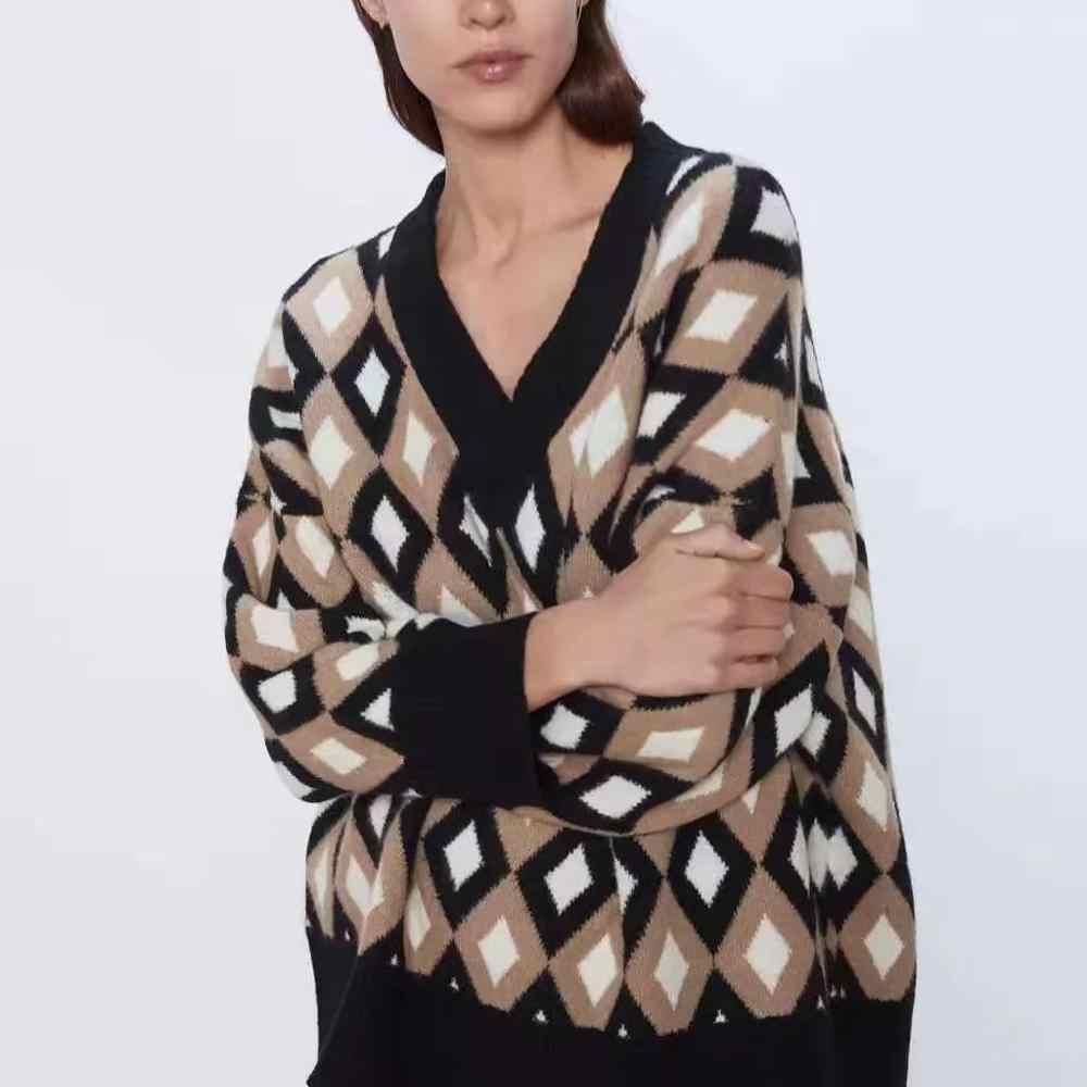 Za 여성 가을 겨울 따뜻한 탑 니트 다이아몬드 격자 무늬 느슨한 특대 스웨터 풀오버 캐주얼 당겨 여성 여성 의류
