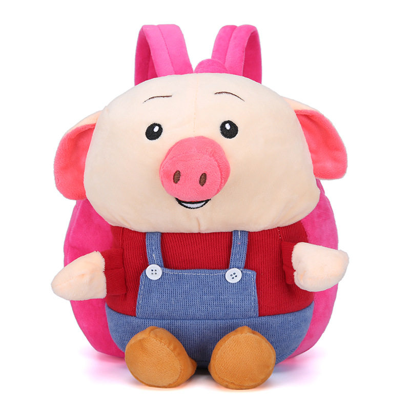 Cartoon Cute CHILDREN'S School Bags Pig Bag 1-2-3-Year-Old Men And Women Baby Mao Rong Bao Korean-style Doll Backpack Fashion