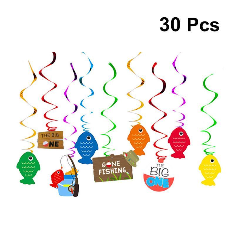 30PCS/Set Fishing Theme Cake Ornaments Practical Birthday Party Cake Decoration Use Ornaments