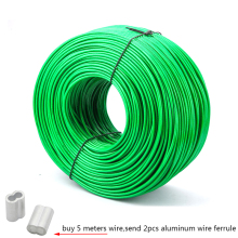 5 Meter Steel wire Green PVC Coated Flexible Wire Rope Cable Stainless Steel for Clothesline Greenhouse Grape rack shed 2mm 3mm
