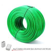 5 Meter stahldraht Grün PVC Beschichtet Flexible Draht Seil Kabel Edelstahl für Wäscheleine Gewächshaus Trauben rack schuppen 2mm 3mm-in Hebewerkzeuge & Zubehör aus Werkzeug bei
