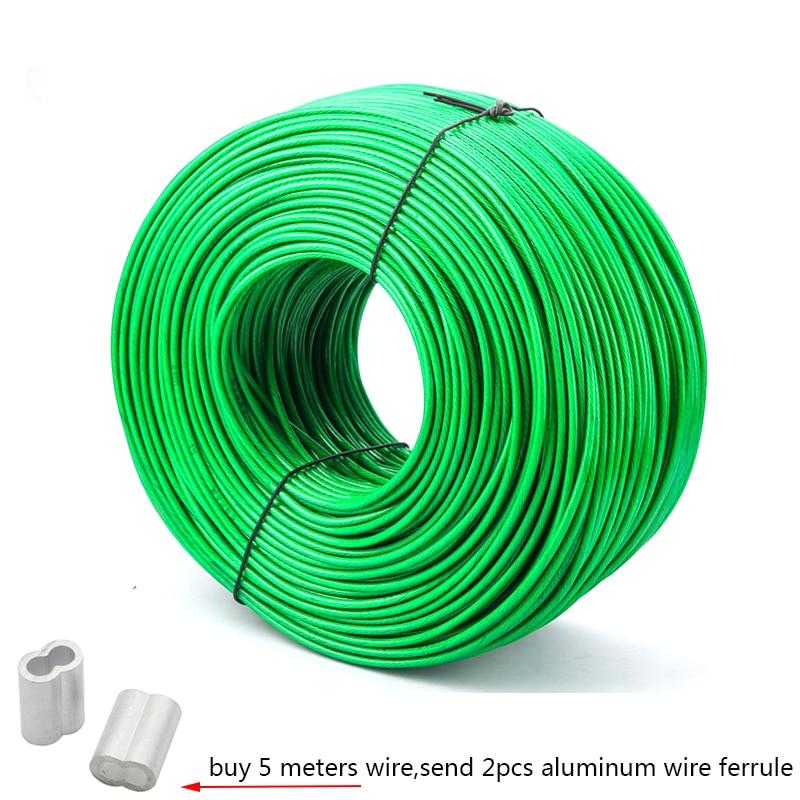 5 mètres de fil d'acier vert PVC enduit câble de câble métallique Flexible en acier inoxydable pour corde à linge serre support de raisin hangar 2mm 3mm