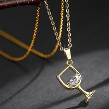 New Creative Rose Gold Silver Gold Color Wine Glass Pendant Chain Necklace for Women Fashion Jewelry Christmas Gift Drop Ship(China)
