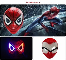 50pcs/lot The Avengers Spiderman Captain America Iron Man Halloween Thor Mask LED Glowing Super Hero Hulk Batman Mask
