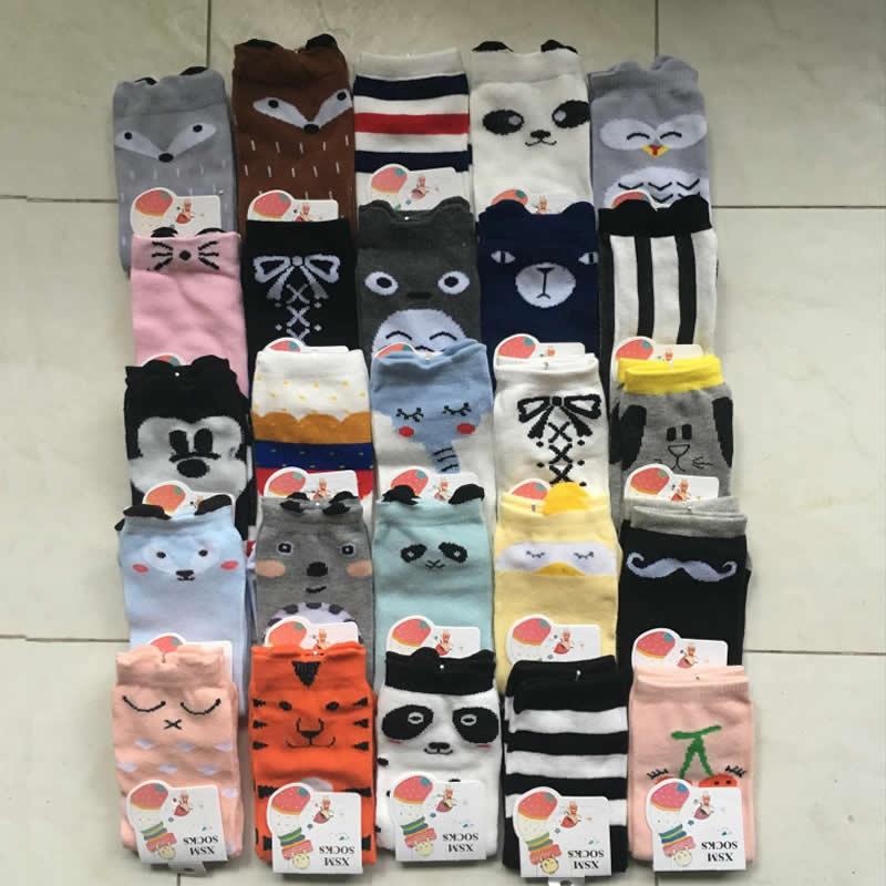 1 Pair Baby Socks Knee High Girls Boys Toddler Socks Long Tube Animal Lovely Cute Cartoon Fox Infant Soft Cotton Socks Kids 0-3Y