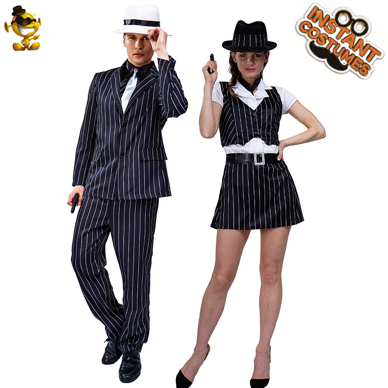 Halloween Adult Lover Gangster Costume Role Play Carnival Party Cosplay Men's &Women Gangster Suits  Costume