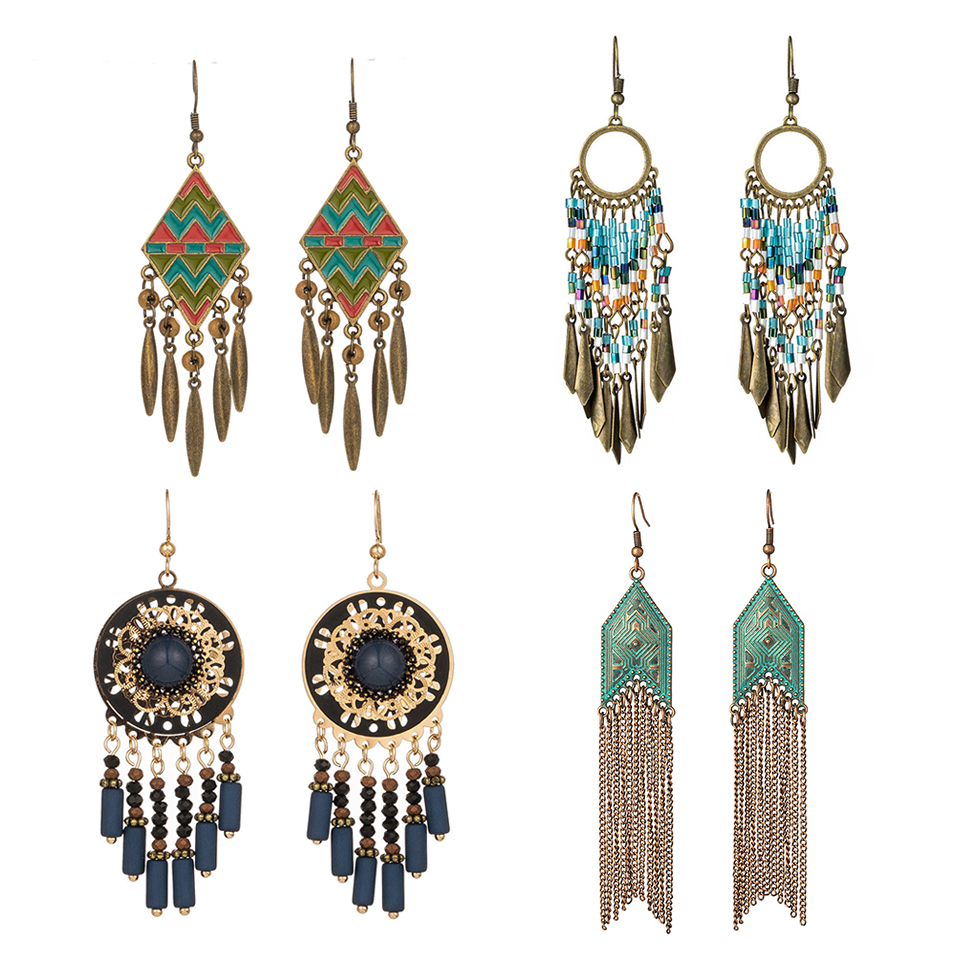 2019 new Fashion Bohemian Ethnic Vintage Tassel drop earrings for woman And Girls Wedding Bridal Engagement Accessories Jewlery(China)