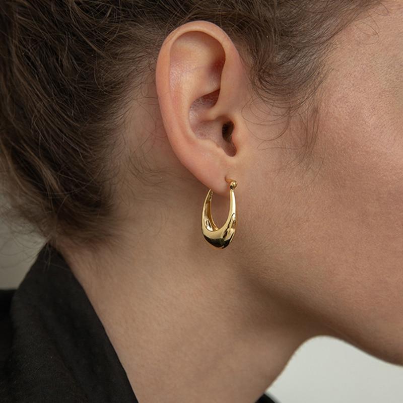 Peri'sBox  2 Size Gold Silver Color U Shape Geometric Earrings Hollow Thick Hoop Earrings For Women Elegant Minimalist Earrings