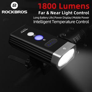 ROCKBROS 1800 Lumen Bike Light 3 Leds USB Rechargeable Bicycle Headlight Waterproof Lamp Flashlight 5200mAh Bike Accessories