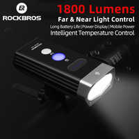 ROCKBROS 1800 Lumen Lumière De Vélo 3 Leds USB Rechargeable Vélo Phare Étanche Lampe de Poche 5200mAh Accessoires De Vélo