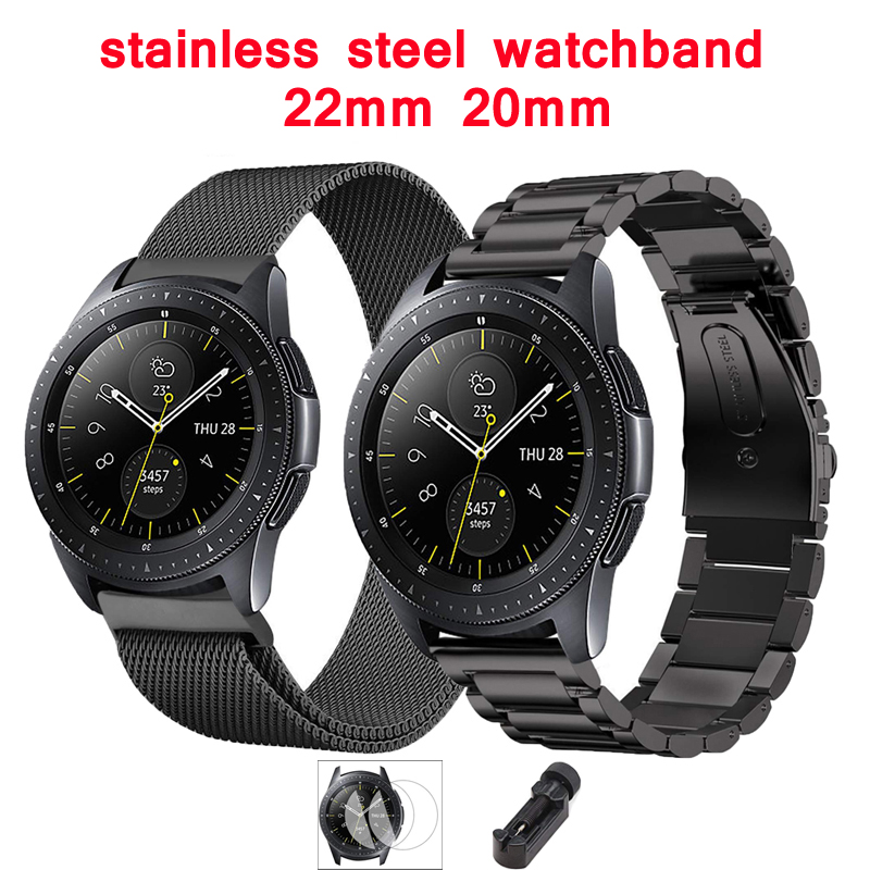 Stainless Steel Strap For Samsung Galaxy Watch Active Gear S3 Frontier 46mm 42mm 22mm/20mm Watchband Film+tool+watch Band