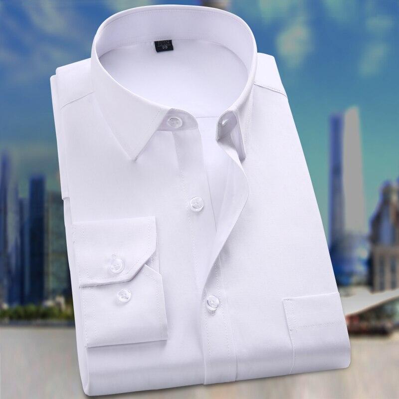 Padrão-ajuste dos homens de Manga Comprida Vestido Básico Sólido Camisa Patch Bolso Único de Alta Qualidade Formal Escritório tr