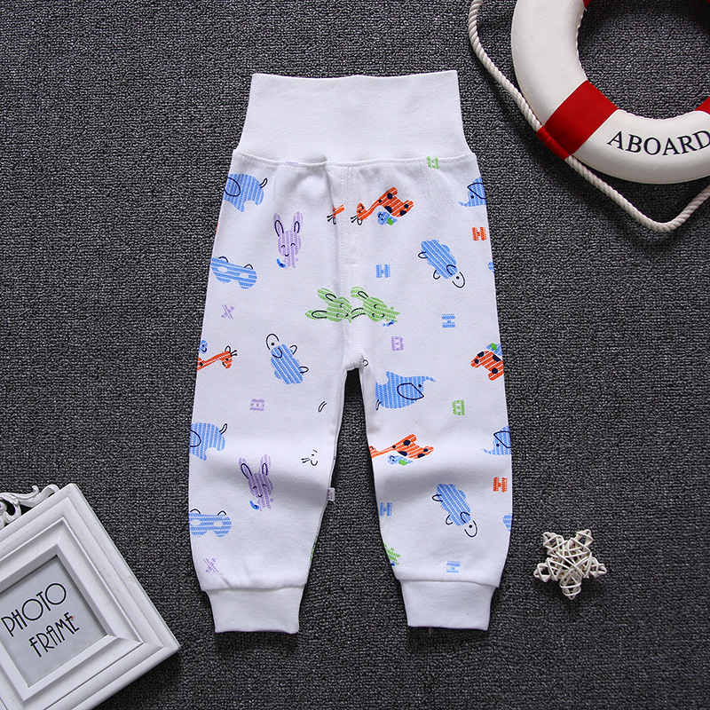 Cartoon High Belly Harem Pants Kids Boy Gril Cotton Leggings Baby High Waist Elastic Trousers Inafnt Abdomen Protector Clothes
