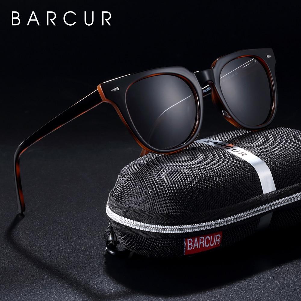 BARCUR Original TR90 Sunglasses For Men Polarized Women Square Sun Glasses Transparent Oculos Lunette De Soleil Femme