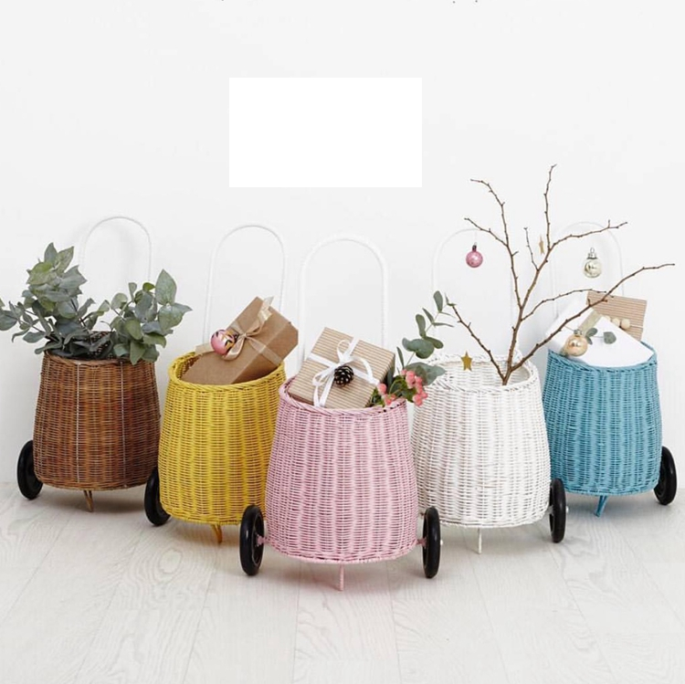 Children's Handicraft Toys Real Storage Baskets Shopping Carts Bamboo Strong Trolley Basket Storage Photo Props For Little Girl