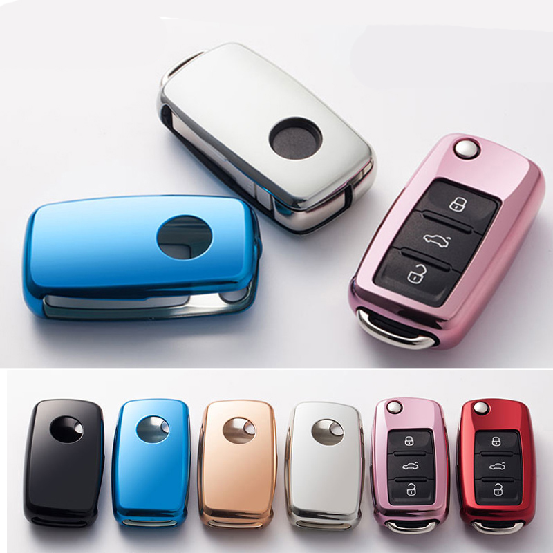 Soft TPU Car Key Cover Case Shell Fob For Golf Bora POLO GOLF Passat For Skoda Octavia A5 Fabia For SEAT Ibiza Leon Car-Styling