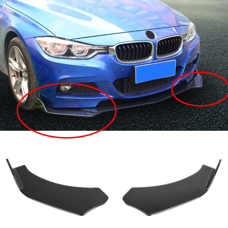 2x Black Universal Car Front <font><b>Bumper</b></font> Lip Deflector Diffuser Spoiler Splitter Canard Lip For BMW W204 E90 <font><b>E92</b></font> For Benz For Audi A4 image