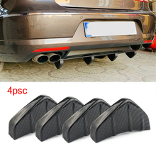 4pcs PVC Car Rear Bumper Diffuser Scratch Protector Cover Molding Trim Decals Auto Accessories universal-Styling