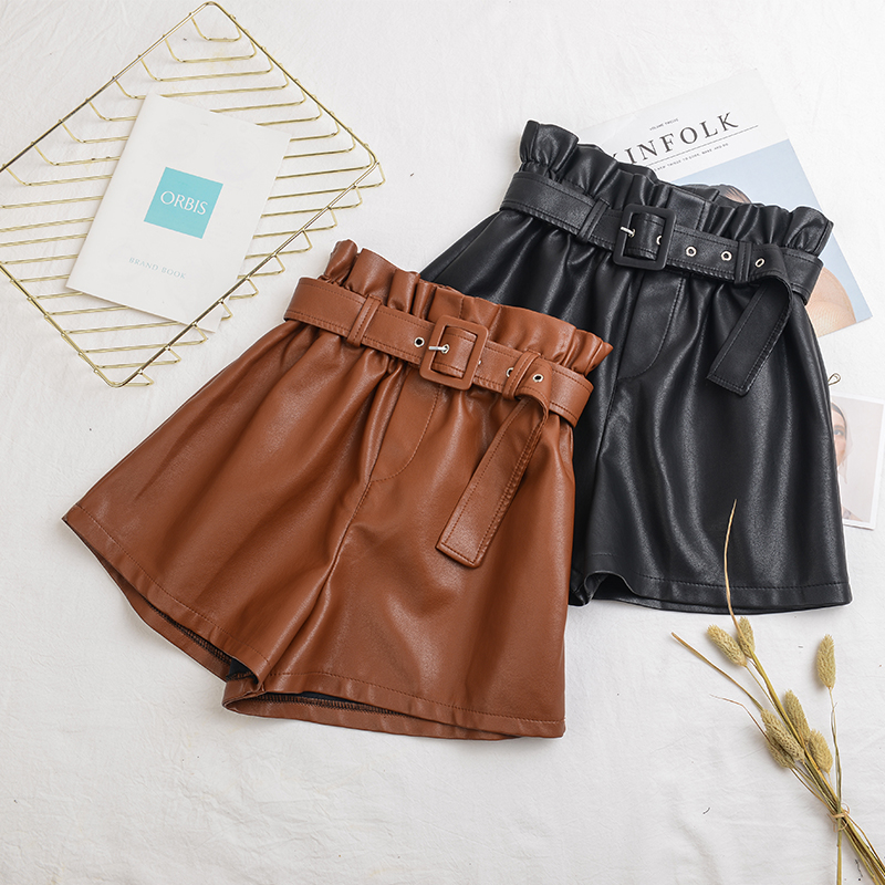 New Women Black PU Leather High Waist With Belt Wide Leg Faux Leather Shorts High Quality Winter Loose PU Shorts Plus Size 5XL