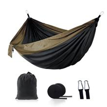 Two-person Hammock Portable Outdoor Camping Hammock Strengthen Parachute Fabric Backpacking Travel Garden Sleeping Swing