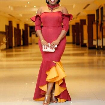 Elegant Red Yellow Color Block Cold Shoulder Floor-Length Mermaid Dress Falbala Women Elegant Party Dresses Plus Size 5xl color block plus size work bodycon dress