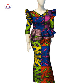 2020 African Skirt Sets for Women Dashiki Bazin Riche Patchwork 2 Pieces Sets Flower Ruffles African Traditional Clothing WY7149