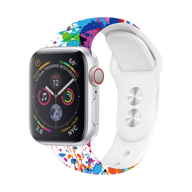 Sport Silicone Band For <font><b>Apple</b></font> <font><b>Watch</b></font> 44mm 40mm New Printing Silicone Strap For <font><b>Apple</b></font> <font><b>Watch</b></font> 5 4 <font><b>3</b></font> <font><b>42mm</b></font> 38mm Accessories Watchband image