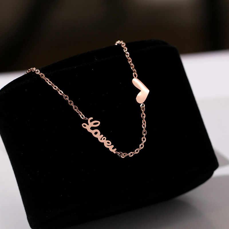 YUN RUO Мода ЛЮБОВЬ U сердце ножной браслет для женщин розовое золото цвет титан сталь дамы карамельный цвет ювелирные изделия никогда не выцветает Прямая доставка
