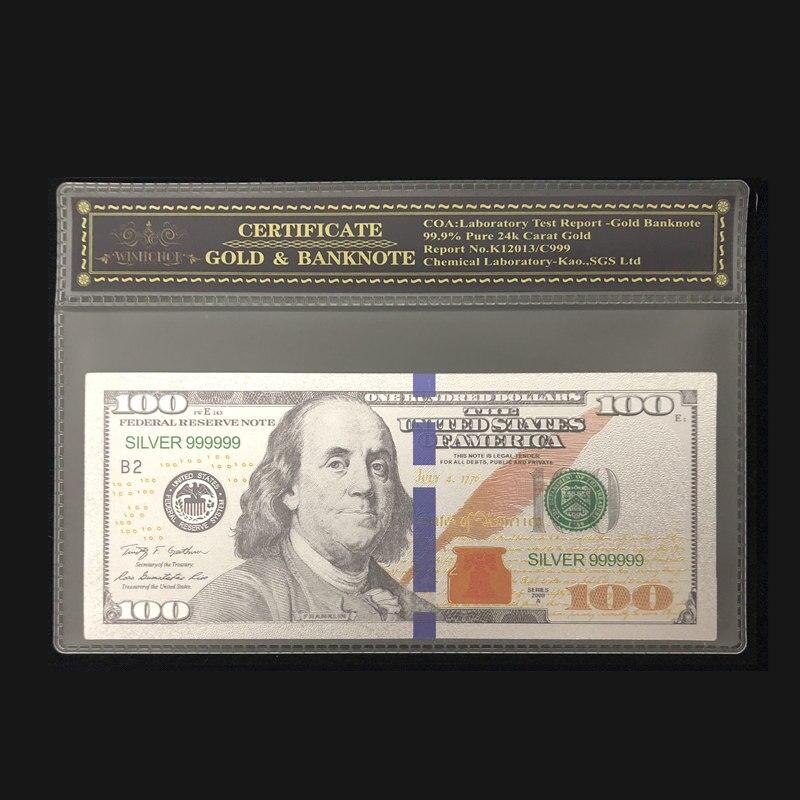 1 шт. 2021 Новые товары для серебряной банкноты 100 доллара банкноты в 24k посеребренные с COA рамкой для коллекции и подарка