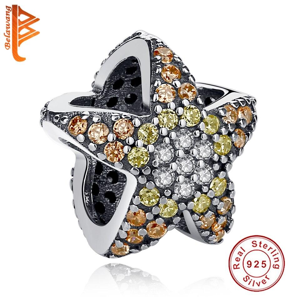 Genuine 925 Sterling Silver Ocean Star Starfish Yellow CZ Beads Fit Original Pandora Charm Bracelet DIY Authentic Jewelry Making