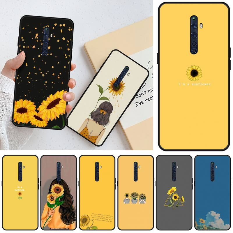 Wumeiyuan Beautiful sunflower DIY Luxury <font><b>Phone</b></font> Case For <font><b>OPPO</b></font> RENO 2Z R15pro R17pro <font><b>Realme</b></font> 2 2pro <font><b>3</b></font> 3pro 5 5pro C2 image
