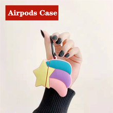 Colorful Rainbow Soft Silicone Anti-fall Case For Apple Airpods 3D Cartoon Wireless Earphone Headphone Cover 1&2