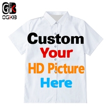 OGKB 3D Print Men/Woman Diy Custom Design Button Shirts Hip