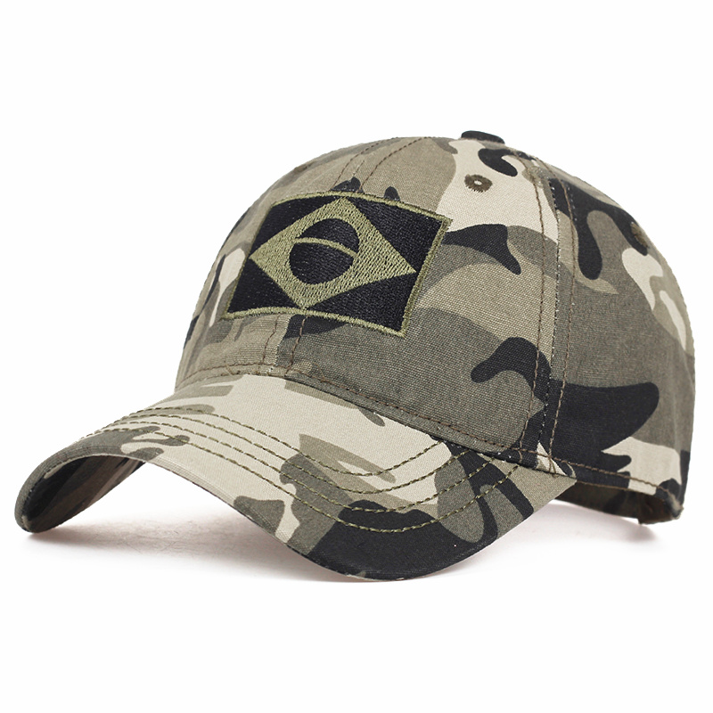 Brazilian Flag Camouflage Baseball Cap Fashion Jungle Combat Caps Adjustable Outdoor Cotton Casual Hat Hip Hop Sports Hats